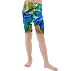 Blue Spotted Butterfly Art In Glass With White Spots Kids  Mid Length Swim Shorts