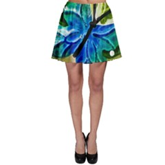 Blue Spotted Butterfly Art In Glass With White Spots Skater Skirt