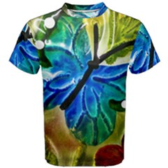 Blue Spotted Butterfly Art In Glass With White Spots Men s Cotton Tee