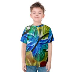 Blue Spotted Butterfly Art In Glass With White Spots Kids  Cotton Tee