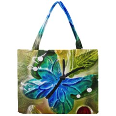 Blue Spotted Butterfly Art In Glass With White Spots Mini Tote Bag