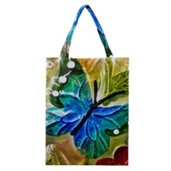 Blue Spotted Butterfly Art In Glass With White Spots Classic Tote Bag