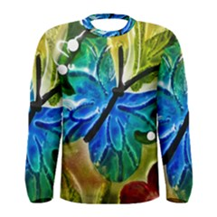 Blue Spotted Butterfly Art In Glass With White Spots Men s Long Sleeve Tee