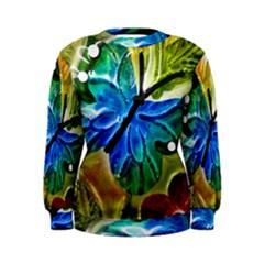 Blue Spotted Butterfly Art In Glass With White Spots Women s Sweatshirt