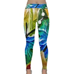 Blue Spotted Butterfly Art In Glass With White Spots Classic Yoga Leggings