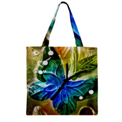 Blue Spotted Butterfly Art In Glass With White Spots Zipper Grocery Tote Bag
