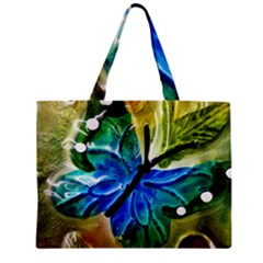 Blue Spotted Butterfly Art In Glass With White Spots Zipper Mini Tote Bag