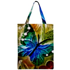 Blue Spotted Butterfly Art In Glass With White Spots Zipper Classic Tote Bag
