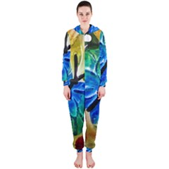 Blue Spotted Butterfly Art In Glass With White Spots Hooded Jumpsuit (ladies)