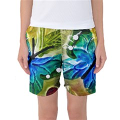 Blue Spotted Butterfly Art In Glass With White Spots Women s Basketball Shorts