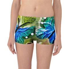 Blue Spotted Butterfly Art In Glass With White Spots Boyleg Bikini Bottoms