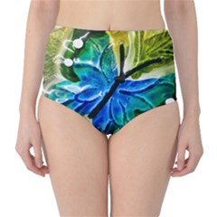 Blue Spotted Butterfly Art In Glass With White Spots High-Waist Bikini Bottoms