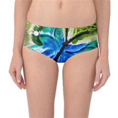 Blue Spotted Butterfly Art In Glass With White Spots Mid Waist Bikini Bottoms