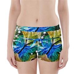 Blue Spotted Butterfly Art In Glass With White Spots Boyleg Bikini Wrap Bottoms