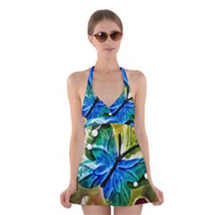 Blue Spotted Butterfly Art In Glass With White Spots Halter Swimsuit Dress
