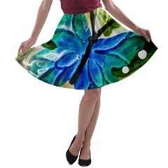 Blue Spotted Butterfly Art In Glass With White Spots A Line Skater Skirt