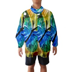 Blue Spotted Butterfly Art In Glass With White Spots Wind Breaker (Kids)