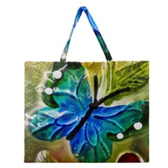 Blue Spotted Butterfly Art In Glass With White Spots Zipper Large Tote Bag