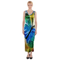 Blue Spotted Butterfly Art In Glass With White Spots Fitted Maxi Dress