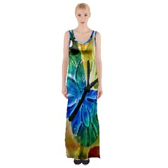 Blue Spotted Butterfly Art In Glass With White Spots Maxi Thigh Split Dress