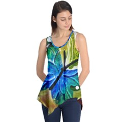 Blue Spotted Butterfly Art In Glass With White Spots Sleeveless Tunic