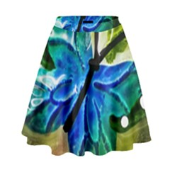 Blue Spotted Butterfly Art In Glass With White Spots High Waist Skirt