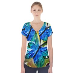 Blue Spotted Butterfly Art In Glass With White Spots Short Sleeve Front Detail Top