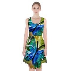 Blue Spotted Butterfly Art In Glass With White Spots Racerback Midi Dress
