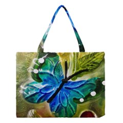 Blue Spotted Butterfly Art In Glass With White Spots Medium Tote Bag