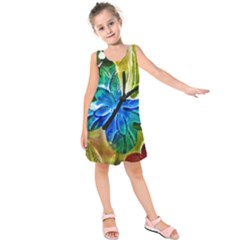 Blue Spotted Butterfly Art In Glass With White Spots Kids  Sleeveless Dress