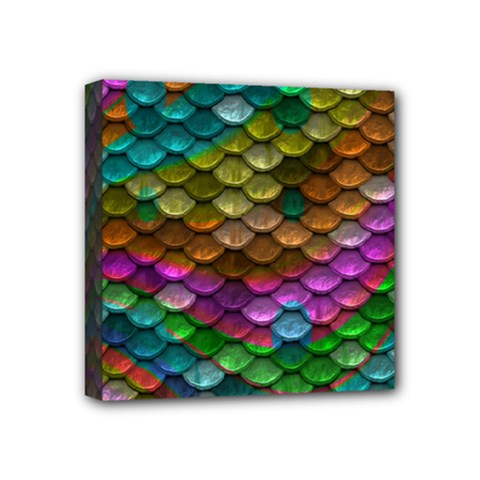 Fish Scales Pattern Background In Rainbow Colors Wallpaper Mini Canvas 4  x 4