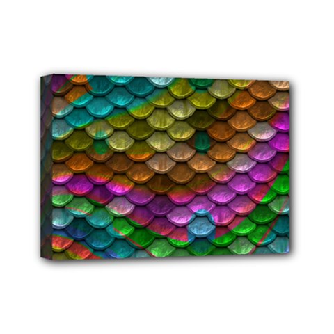 Fish Scales Pattern Background In Rainbow Colors Wallpaper Mini Canvas 7  x 5