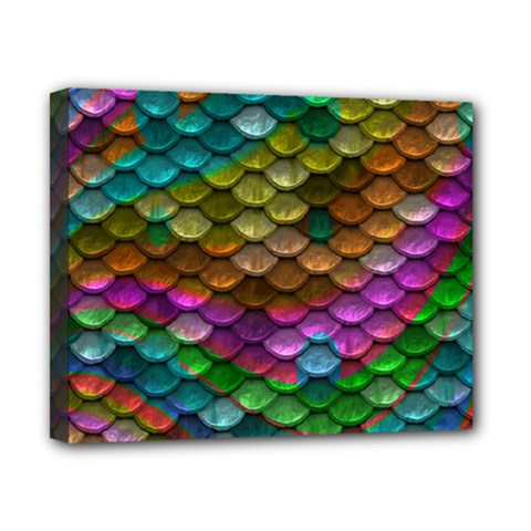 Fish Scales Pattern Background In Rainbow Colors Wallpaper Canvas 10  X 8