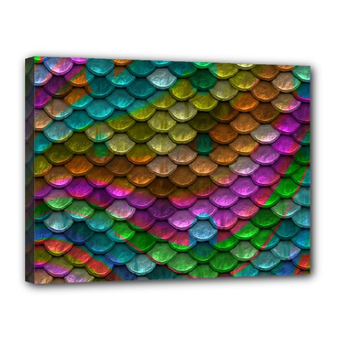 Fish Scales Pattern Background In Rainbow Colors Wallpaper Canvas 16  x 12
