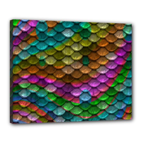 Fish Scales Pattern Background In Rainbow Colors Wallpaper Canvas 20  X 16