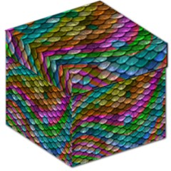Fish Scales Pattern Background In Rainbow Colors Wallpaper Storage Stool 12