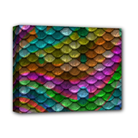 Fish Scales Pattern Background In Rainbow Colors Wallpaper Deluxe Canvas 14  x 11