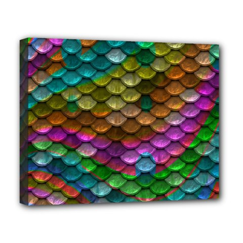 Fish Scales Pattern Background In Rainbow Colors Wallpaper Deluxe Canvas 20  x 16