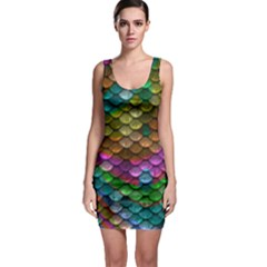 Fish Scales Pattern Background In Rainbow Colors Wallpaper Sleeveless Bodycon Dress