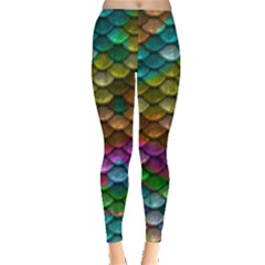 Fish Scales Pattern Background In Rainbow Colors Wallpaper Leggings