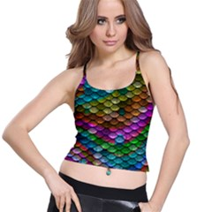 Fish Scales Pattern Background In Rainbow Colors Wallpaper Spaghetti Strap Bra Top