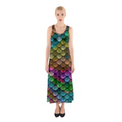 Fish Scales Pattern Background In Rainbow Colors Wallpaper Sleeveless Maxi Dress