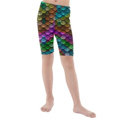 Fish Scales Pattern Background In Rainbow Colors Wallpaper Kids  Mid Length Swim Shorts