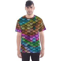 Fish Scales Pattern Background In Rainbow Colors Wallpaper Men s Sport Mesh Tee