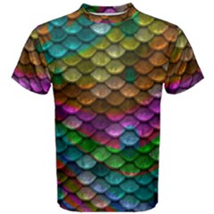 Fish Scales Pattern Background In Rainbow Colors Wallpaper Men s Cotton Tee