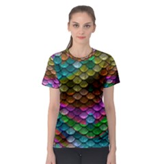 Fish Scales Pattern Background In Rainbow Colors Wallpaper Women s Sport Mesh Tee