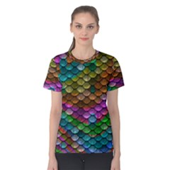 Fish Scales Pattern Background In Rainbow Colors Wallpaper Women s Cotton Tee