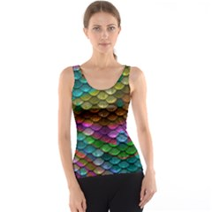 Fish Scales Pattern Background In Rainbow Colors Wallpaper Tank Top