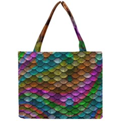 Fish Scales Pattern Background In Rainbow Colors Wallpaper Mini Tote Bag