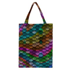 Fish Scales Pattern Background In Rainbow Colors Wallpaper Classic Tote Bag